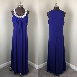 Soft Surroundings Blue Beaded Ruched Maxi Dress